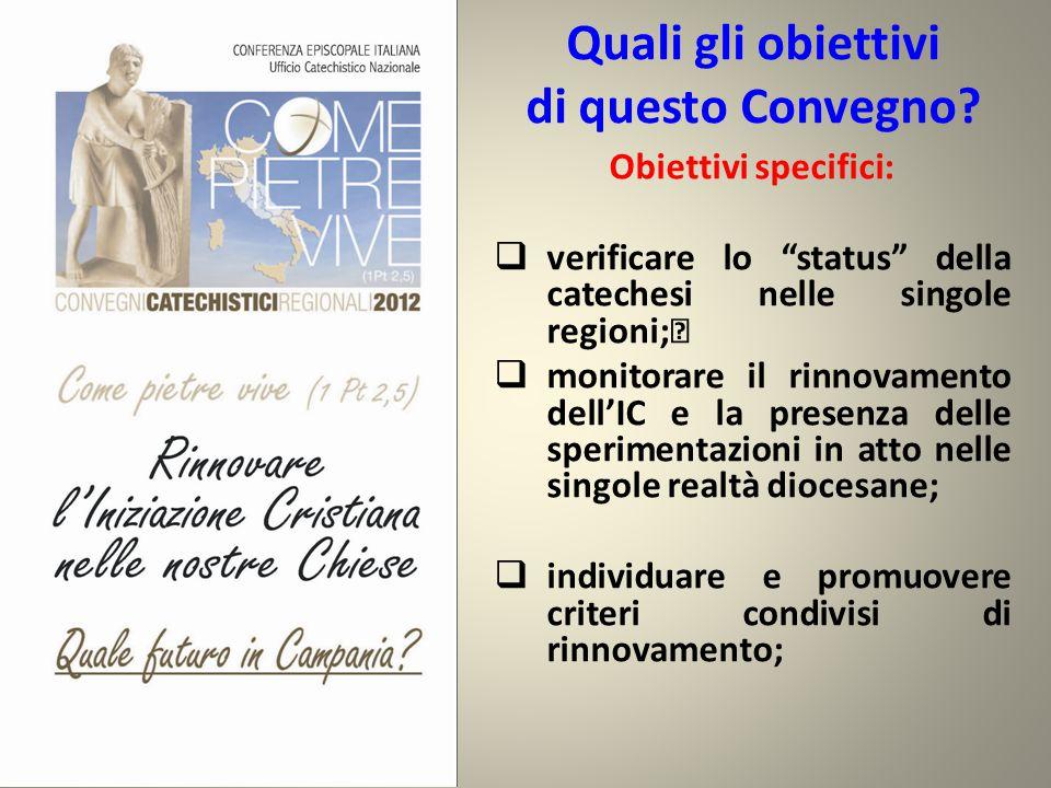 """Quali gli obiettivi di questo Convegno? Obiettivi specifici:  verificare lo """"status"""" della catechesi nelle singole regioni;  monitorare il rinnovame"""