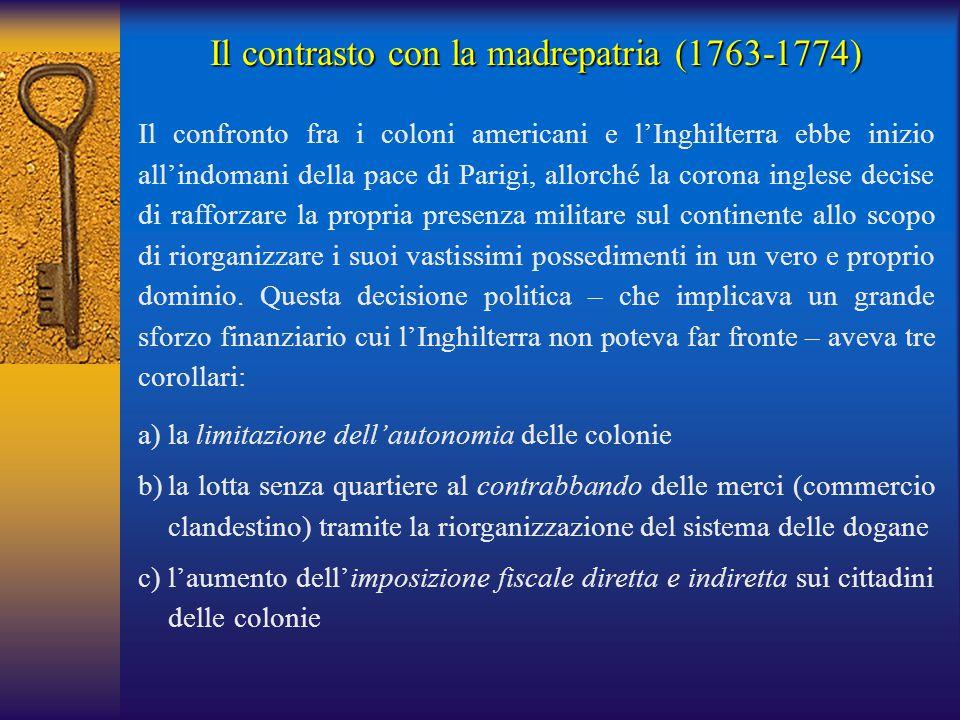 Il contrasto con la madrepatria (1763-1774) Il confronto fra i coloni americani e l'Inghilterra ebbe inizio all'indomani della pace di Parigi, allorch