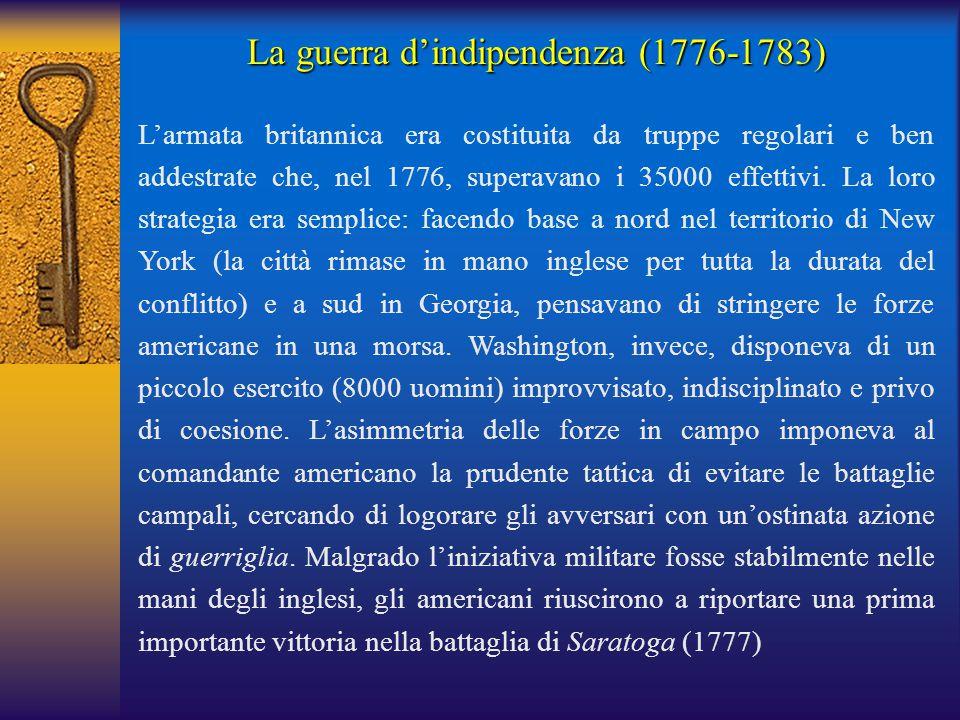 L'armata britannica era costituita da truppe regolari e ben addestrate che, nel 1776, superavano i 35000 effettivi. La loro strategia era semplice: fa