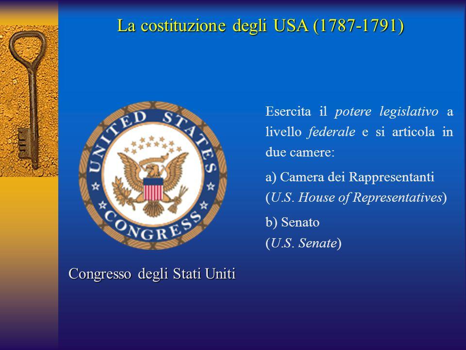 La costituzione degli USA (1787-1791) Congresso degli Stati Uniti Esercita il potere legislativo a livello federale e si articola in due camere: a)Cam