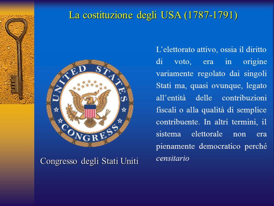 La costituzione degli USA (1787-1791) Congresso degli Stati Uniti L'elettorato attivo, ossia il diritto di voto, era in origine variamente regolato da