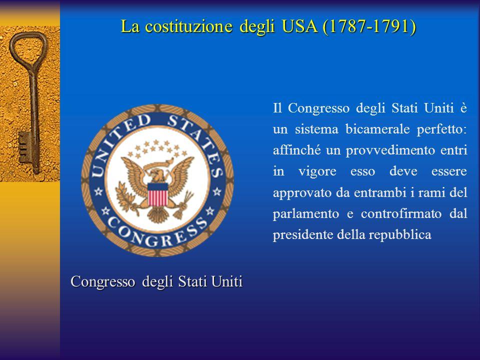 La costituzione degli USA (1787-1791) Congresso degli Stati Uniti Il Congresso degli Stati Uniti è un sistema bicamerale perfetto: affinché un provved