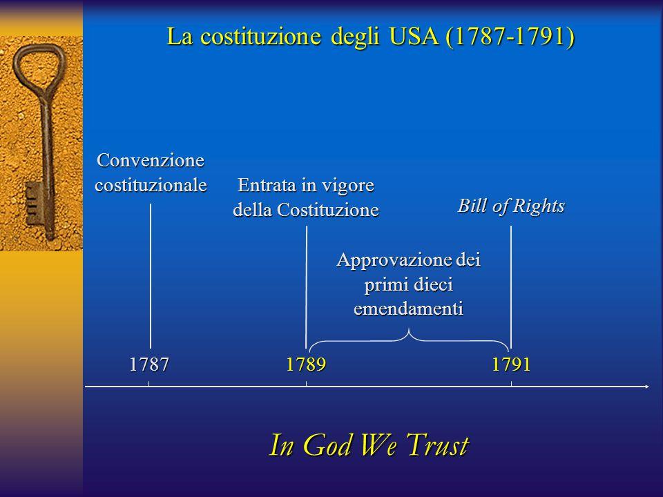 1787 Convenzione costituzionale 17911789 Entrata in vigore della Costituzione Bill of Rights In God We Trust La costituzione degli USA (1787-1791) App