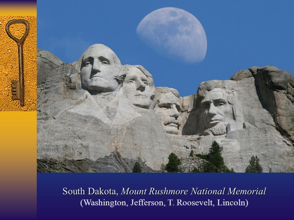 South Dakota, Mount Rushmore National Memorial (Washington, Jefferson, T. Roosevelt, Lincoln)