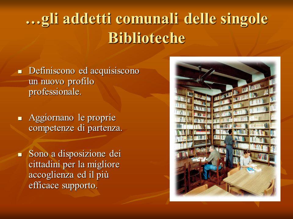 …gli addetti comunali delle singole Biblioteche Definiscono ed acquisiscono un nuovo profilo professionale.