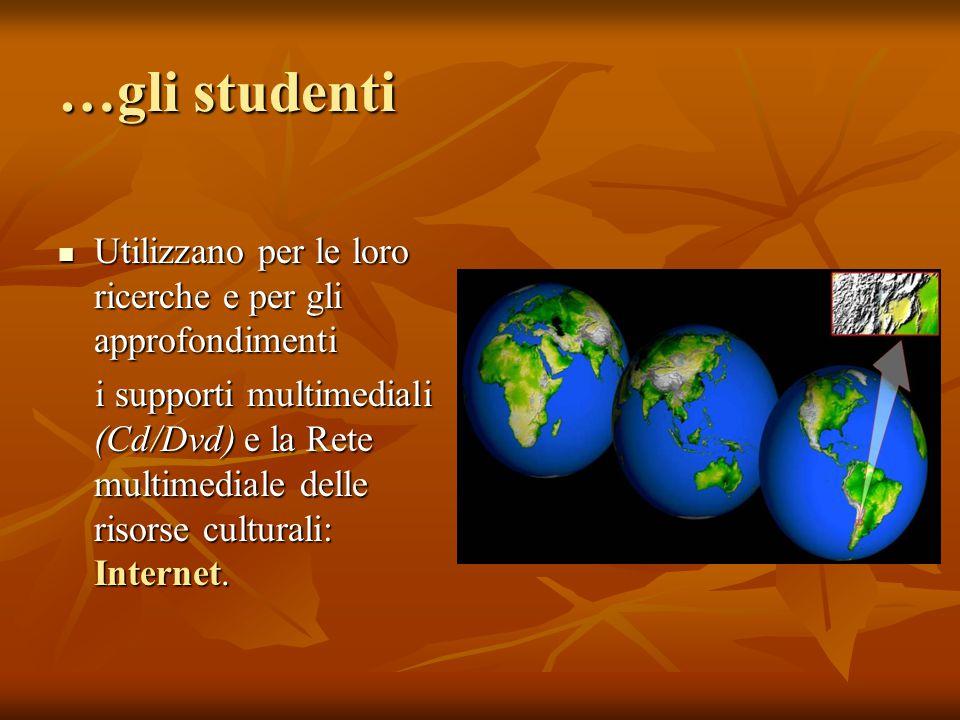 …gli studenti Utilizzano per le loro ricerche e per gli approfondimenti Utilizzano per le loro ricerche e per gli approfondimenti i supporti multimediali (Cd/Dvd) e la Rete multimediale delle risorse culturali: Internet.