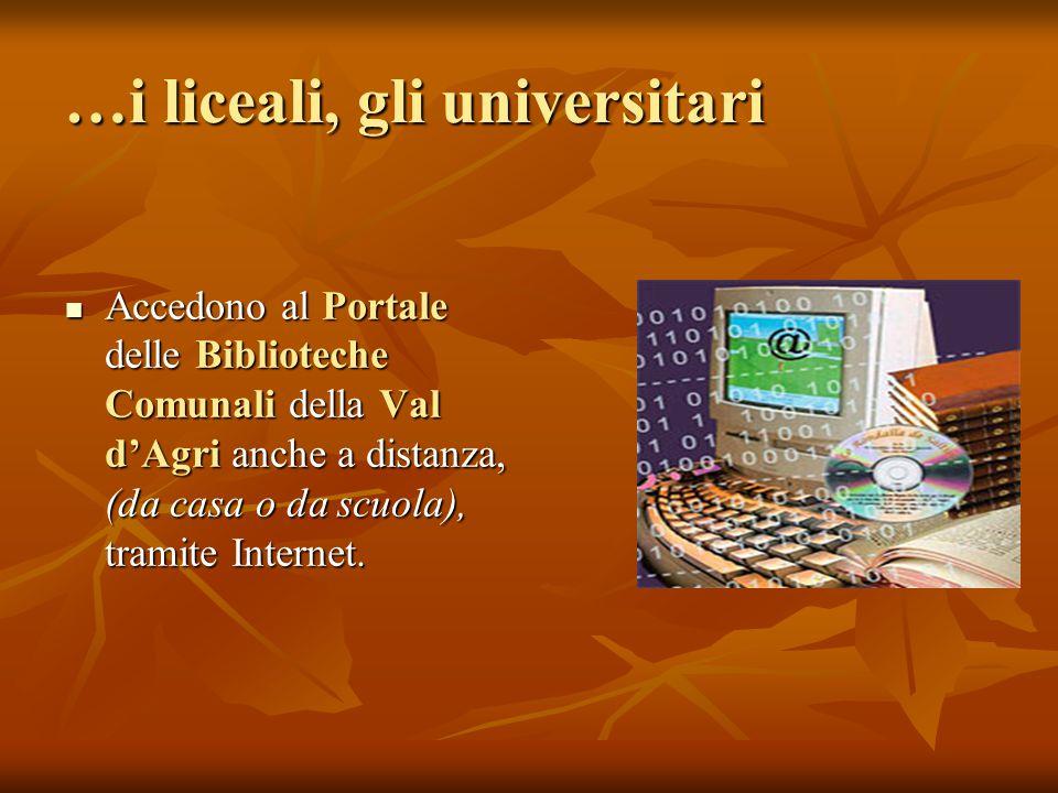 …i liceali, gli universitari Accedono al Portale delle Biblioteche Comunali della Val d'Agri anche a distanza, (da casa o da scuola), tramite Internet.