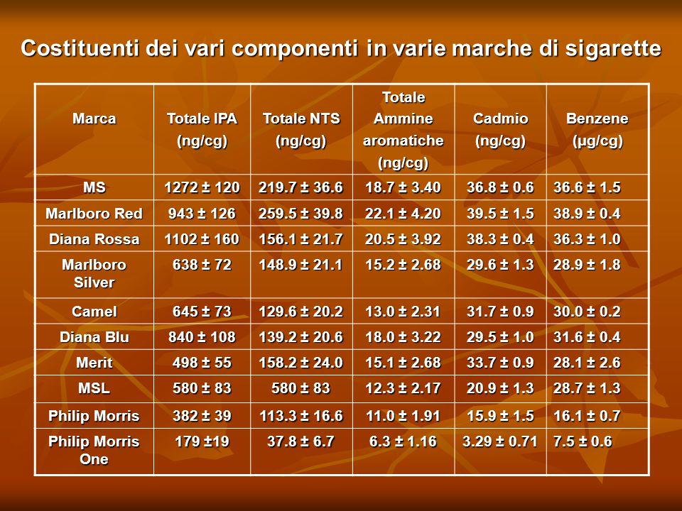 Marca Totale IPA (ng/cg) Totale NTS (ng/cg)TotaleAmminearomatiche(ng/cg)Cadmio(ng/cg)Benzene(μg/cg) MS 1272 ± 120 219.7 ± 36.6 18.7 ± 3.40 36.8 ± 0.6