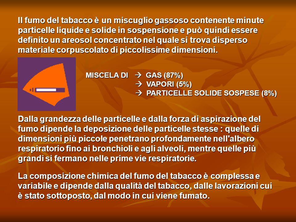 Il fumo del tabacco è un miscuglio gassoso contenente minute particelle liquide e solide in sospensione e può quindi essere definito un areosol concen
