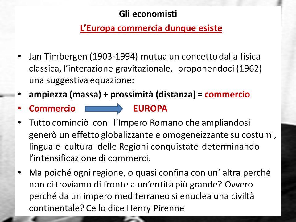 Jan Tinbergen, Nobel per l'economia 1969 Gli economisti L'Europa commercia dunque esiste Jan Timbergen (1903-1994) mutua un concetto dalla fisica classica, l'interazione gravitazionale, proponendoci (1962) una suggestiva equazione: ampiezza (massa) + prossimità (distanza) = commercio Commercio EUROPA Tutto cominciò con l'Impero Romano che ampliandosi generò un effetto globalizzante e omogeneizzante su costumi, lingua e cultura delle Regioni conquistate determinando l'intensificazione di commerci.