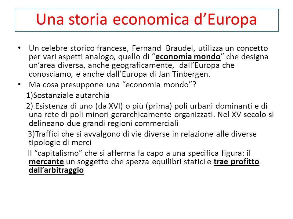 Una storia economica d'Europa Un celebre storico francese, Fernand Braudel, utilizza un concetto per vari aspetti analogo, quello di economia mondo che designa un'area diversa, anche geograficamente, dall'Europa che conosciamo, e anche dall'Europa di Jan Tinbergen.