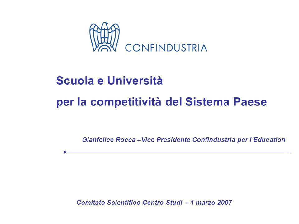 Gianfelice Rocca – Vice Presidente Confindustria per l'Education Scuola e Università per la competitività del Sistema Paese Comitato Scientifico Centro Studi - 1 marzo 2007