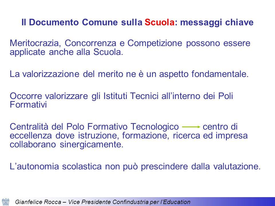 Gianfelice Rocca – Vice Presidente Confindustria per l'Education Il Documento Comune sulla Scuola: messaggi chiave Meritocrazia, Concorrenza e Competizione possono essere applicate anche alla Scuola.