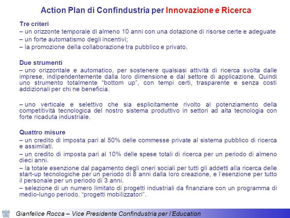 Gianfelice Rocca – Vice Presidente Confindustria per l'Education Tre criteri – un orizzonte temporale di almeno 10 anni con una dotazione di risorse certe e adeguate – un forte automatismo degli incentivi; – la promozione della collaborazione tra pubblico e privato.