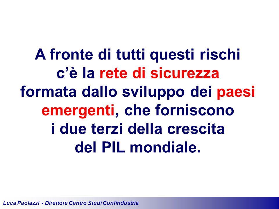 Luca Paolazzi - Direttore Centro Studi Confindustria A fronte di tutti questi rischi c'è la rete di sicurezza formata dallo sviluppo dei paesi emergenti, che forniscono i due terzi della crescita del PIL mondiale.