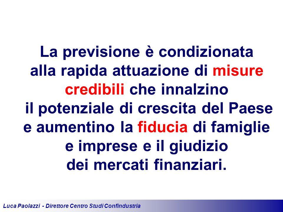 Luca Paolazzi - Direttore Centro Studi Confindustria La previsione è condizionata alla rapida attuazione di misure credibili che innalzino il potenziale di crescita del Paese e aumentino la fiducia di famiglie e imprese e il giudizio dei mercati finanziari.