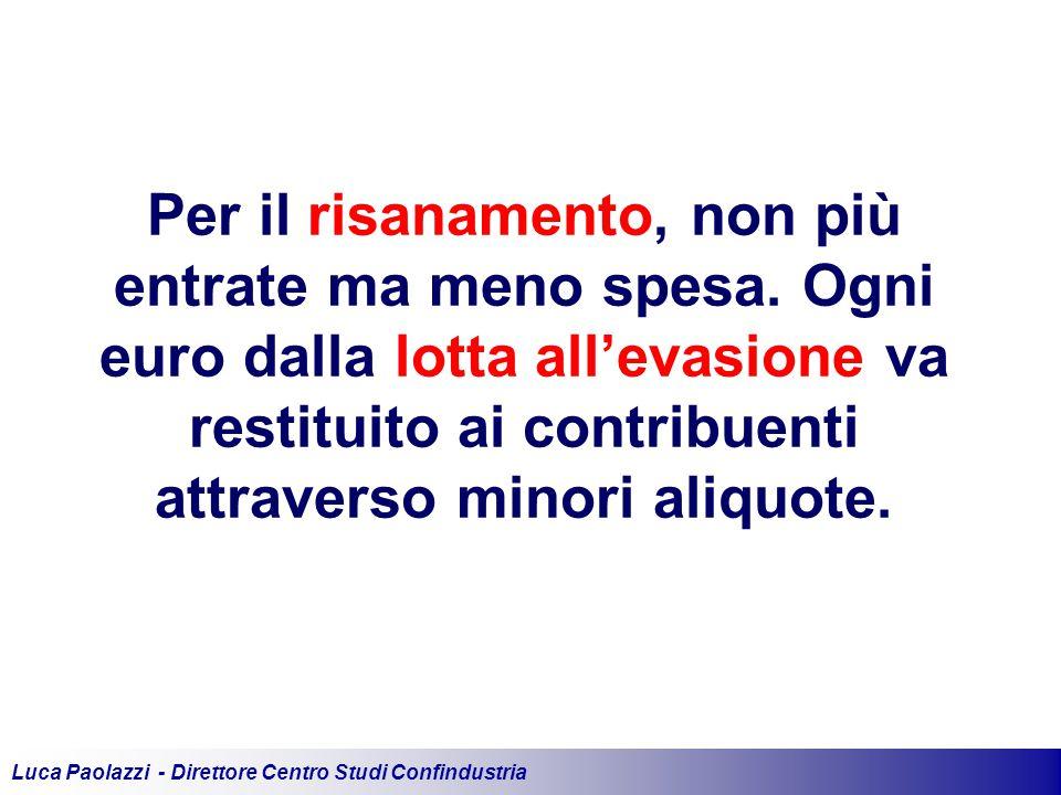 Luca Paolazzi - Direttore Centro Studi Confindustria Per il risanamento, non più entrate ma meno spesa.