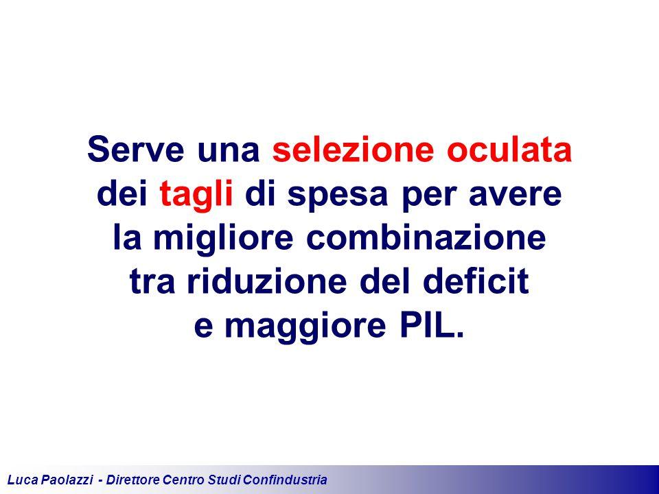 Luca Paolazzi - Direttore Centro Studi Confindustria Serve una selezione oculata dei tagli di spesa per avere la migliore combinazione tra riduzione del deficit e maggiore PIL.