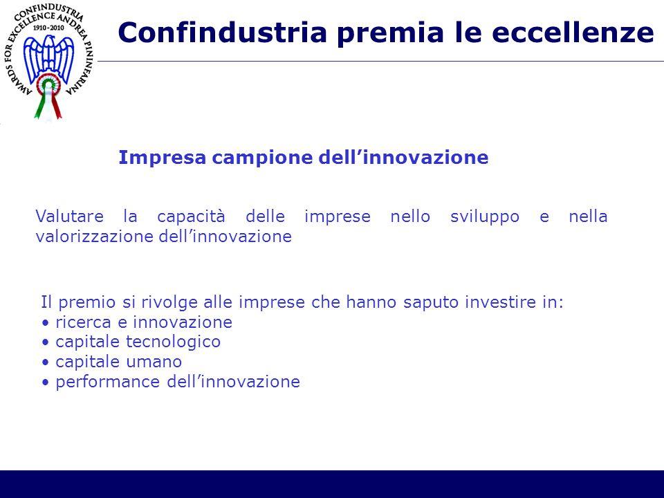 Confindustria premia le eccellenze Valutare la capacità delle imprese nello sviluppo e nella valorizzazione dell'innovazione Il premio si rivolge alle imprese che hanno saputo investire in: ricerca e innovazione capitale tecnologico capitale umano performance dell'innovazione Impresa campione dell'innovazione