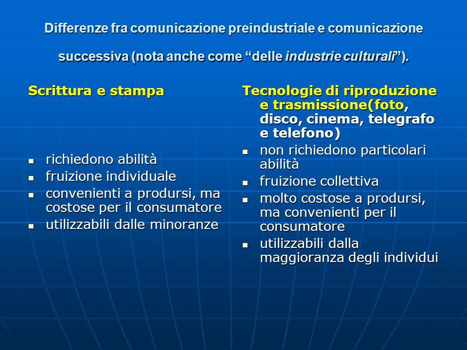 """Differenze fra comunicazione preindustriale e comunicazione successiva (nota anche come """"delle industrie culturali""""). Scrittura e stampa richiedono ab"""