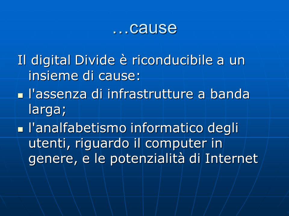 …cause Il digital Divide è riconducibile a un insieme di cause: l'assenza di infrastrutture a banda larga; l'assenza di infrastrutture a banda larga;