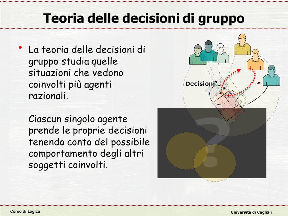Corso di Logica Università di Cagliari Teoria delle decisioni di gruppo La teoria delle decisioni di gruppo studia quelle situazioni che vedono coinvo