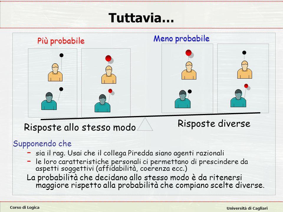 Corso di Logica Università di Cagliari Tuttavia… Supponendo che – sia il rag. Usai che il collega Piredda siano agenti razionali – le loro caratterist