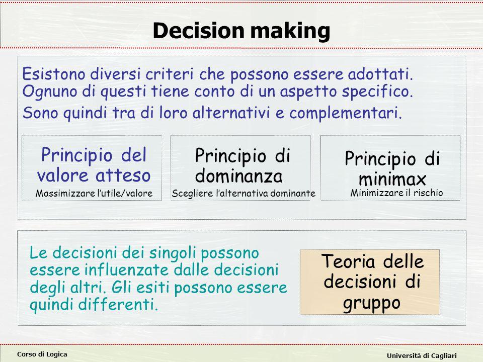 Corso di Logica Università di Cagliari Decision making Principio del valore atteso Principio di dominanza Principio di minimax Teoria delle decisioni