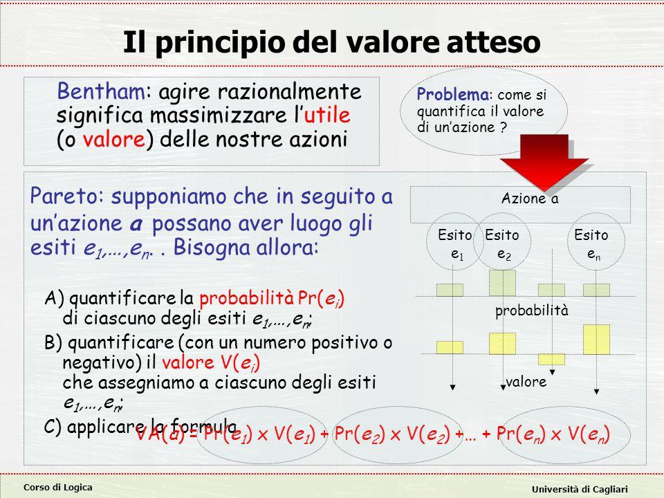 Corso di Logica Università di Cagliari Il principio del valore atteso Pareto: supponiamo che in seguito a un'azione a possano aver luogo gli esiti e 1