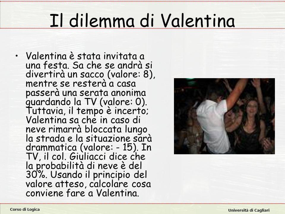 Corso di Logica Università di Cagliari Il dilemma di Valentina Valentina è stata invitata a una festa. Sa che se andrà si divertirà un sacco (valore: