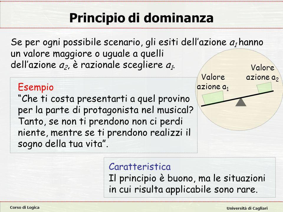 Corso di Logica Università di Cagliari Principio di dominanza Se per ogni possibile scenario, gli esiti dell'azione a 1 hanno un valore maggiore o ugu