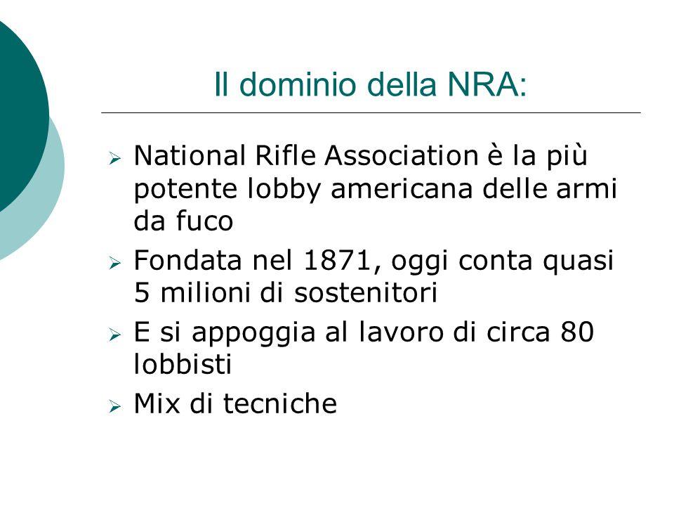 Il dominio della NRA: NNational Rifle Association è la più potente lobby americana delle armi da fuco FFondata nel 1871, oggi conta quasi 5 milion