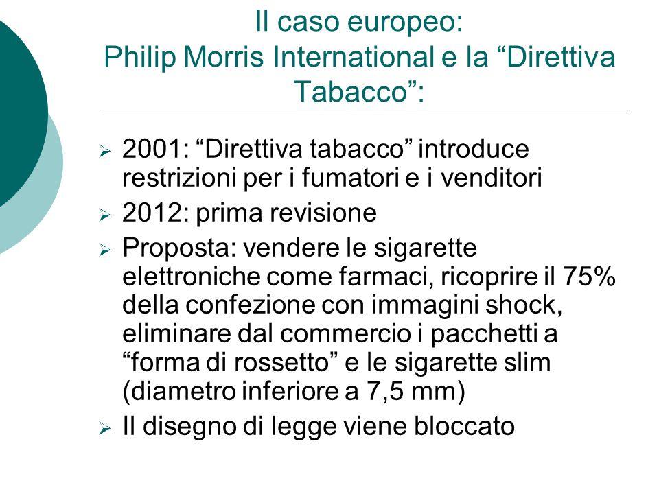 """Il caso europeo: Philip Morris International e la """"Direttiva Tabacco"""": 22001: """"Direttiva tabacco"""" introduce restrizioni per i fumatori e i venditori"""