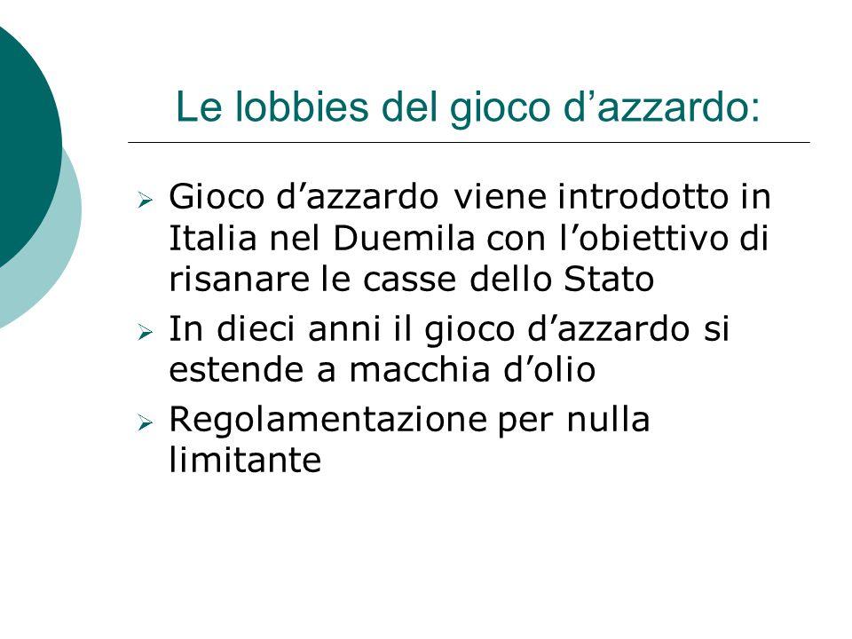 Le lobbies del gioco d'azzardo: GGioco d'azzardo viene introdotto in Italia nel Duemila con l'obiettivo di risanare le casse dello Stato IIn dieci