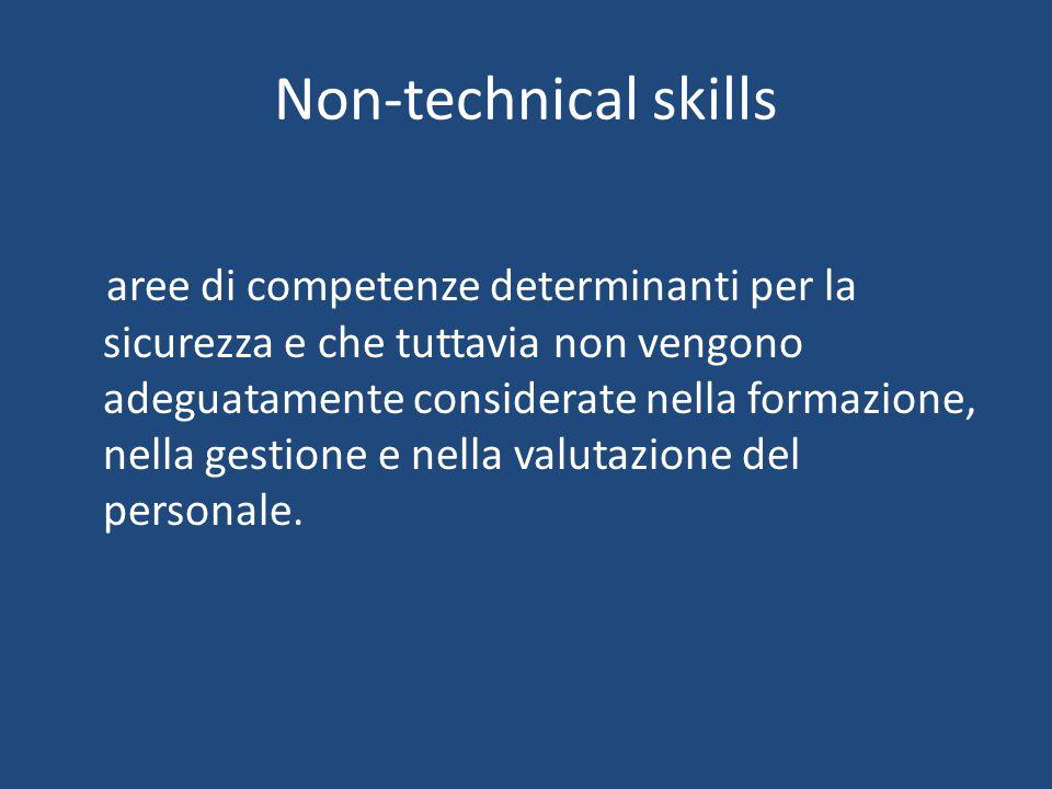 Non-technical skills aree di competenze determinanti per la sicurezza e che tuttavia non vengono adeguatamente considerate nella formazione, nella gestione e nella valutazione del personale.