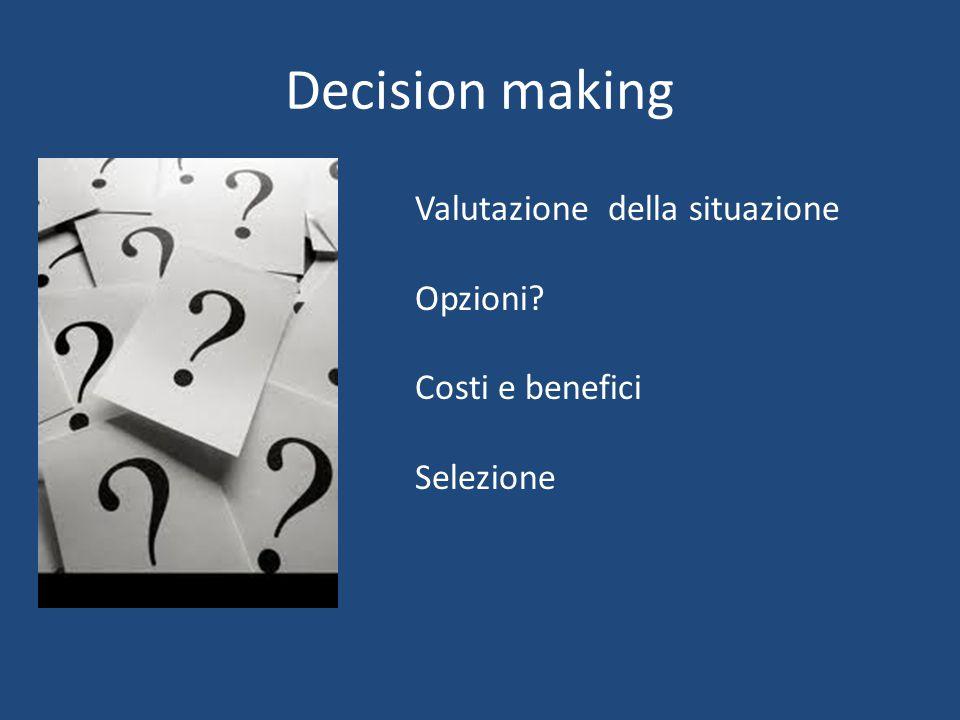 Decision making Valutazione della situazione Opzioni Costi e benefici Selezione