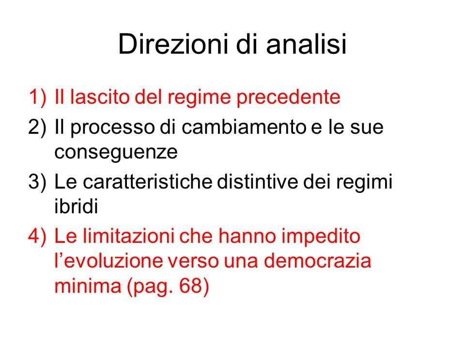 Direzioni di analisi 1)Il lascito del regime precedente 2)Il processo di cambiamento e le sue conseguenze 3)Le caratteristiche distintive dei regimi i