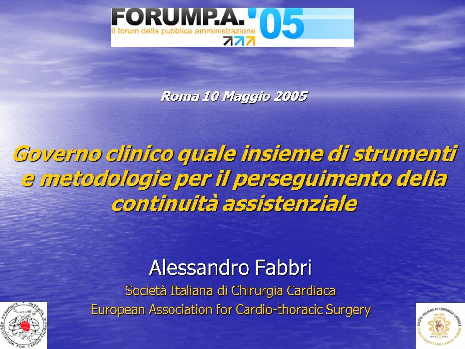 Roma 10 Maggio 2005 Governo clinico quale insieme di strumenti e metodologie per il perseguimento della continuità assistenziale Alessandro Fabbri Soc
