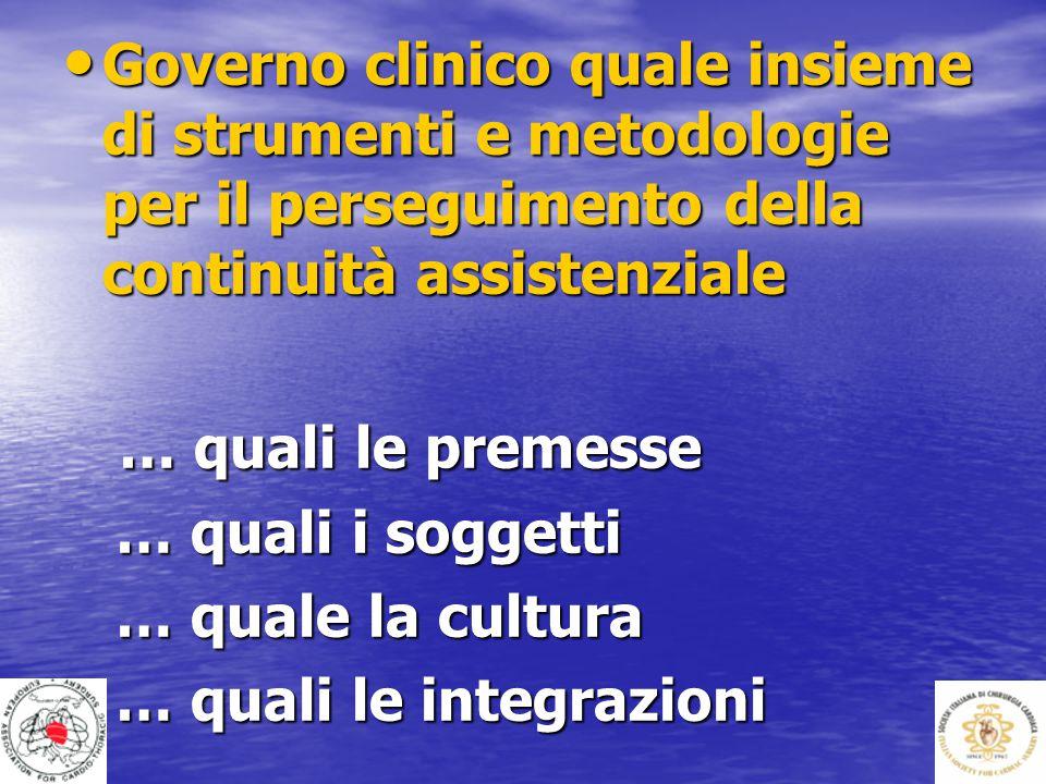 Governo clinico quale insieme di strumenti e metodologie per il perseguimento della continuità assistenziale Governo clinico quale insieme di strument