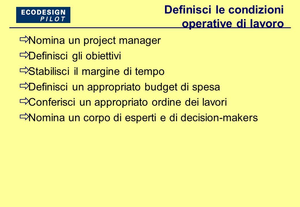 Definisci le condizioni operative di lavoro  Nomina un project manager  Definisci gli obiettivi  Stabilisci il margine di tempo  Definisci un appropriato budget di spesa  Conferisci un appropriato ordine dei lavori  Nomina un corpo di esperti e di decision-makers