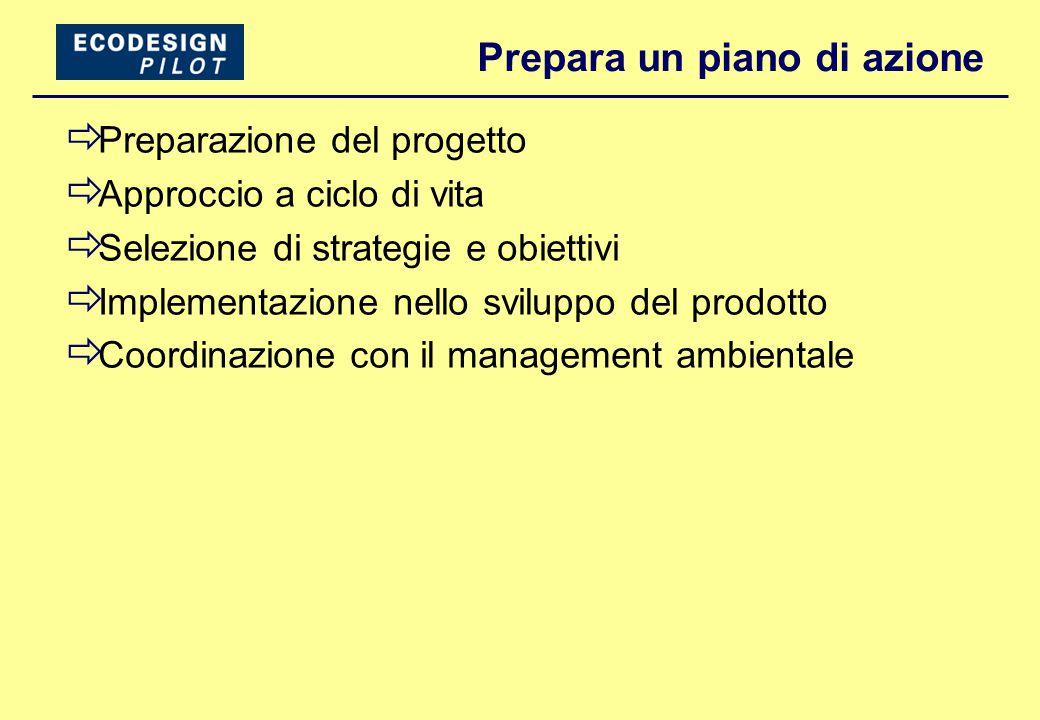 Prepara un piano di azione  Preparazione del progetto  Approccio a ciclo di vita  Selezione di strategie e obiettivi  Implementazione nello sviluppo del prodotto  Coordinazione con il management ambientale
