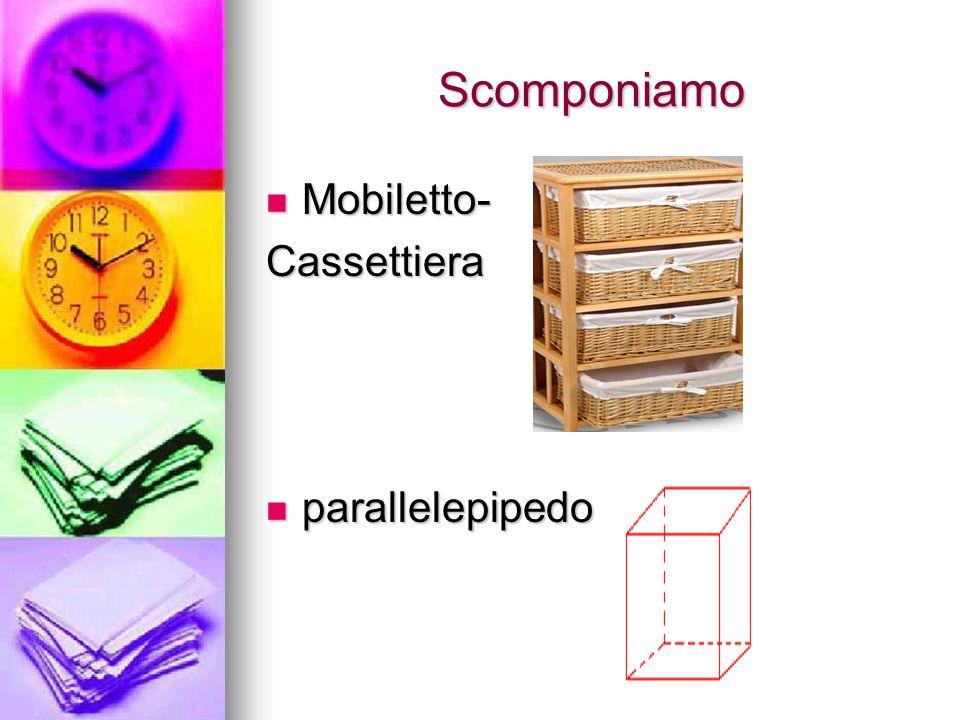 Scomponiamo Mobiletto- Mobiletto-Cassettiera parallelepipedo parallelepipedo