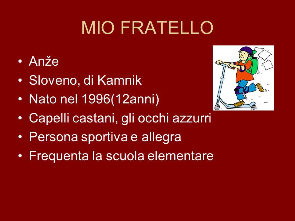 MIO FRATELLO Anže Sloveno, di Kamnik Nato nel 1996(12anni) Capelli castani, gli occhi azzurri Persona sportiva e allegra Frequenta la scuola elementar