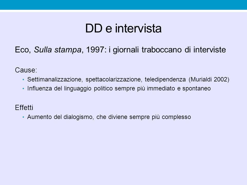 DD e intervista Eco, Sulla stampa, 1997: i giornali traboccano di interviste Cause: Settimanalizzazione, spettacolarizzazione, teledipendenza (Muriald