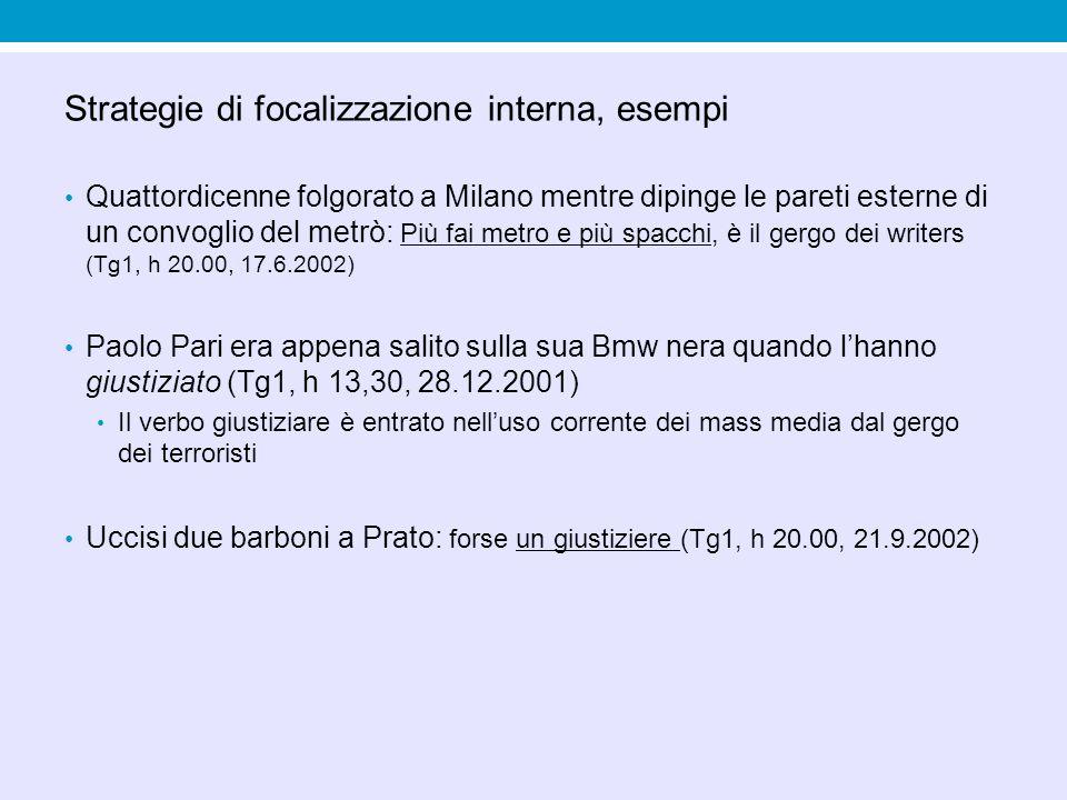 Strategie di focalizzazione interna, esempi Quattordicenne folgorato a Milano mentre dipinge le pareti esterne di un convoglio del metrò: Più fai metr