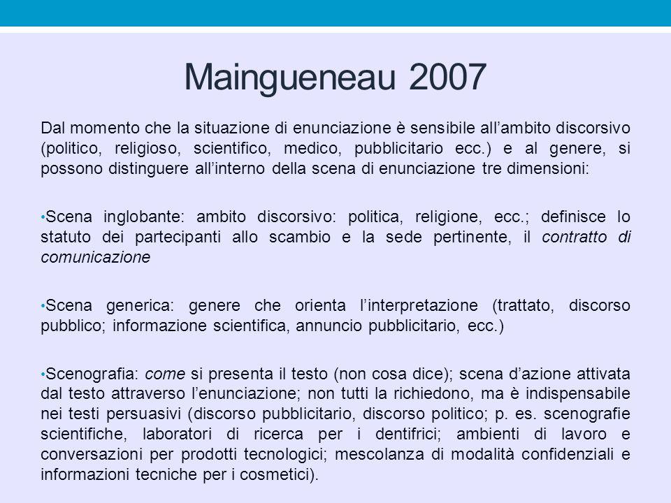 Maingueneau 2007 Dal momento che la situazione di enunciazione è sensibile all'ambito discorsivo (politico, religioso, scientifico, medico, pubblicita
