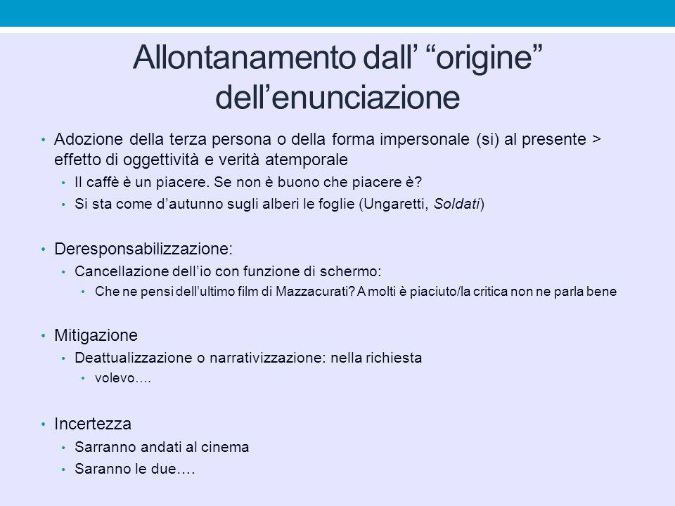 """Allontanamento dall' """"origine"""" dell'enunciazione Adozione della terza persona o della forma impersonale (si) al presente > effetto di oggettività e ve"""