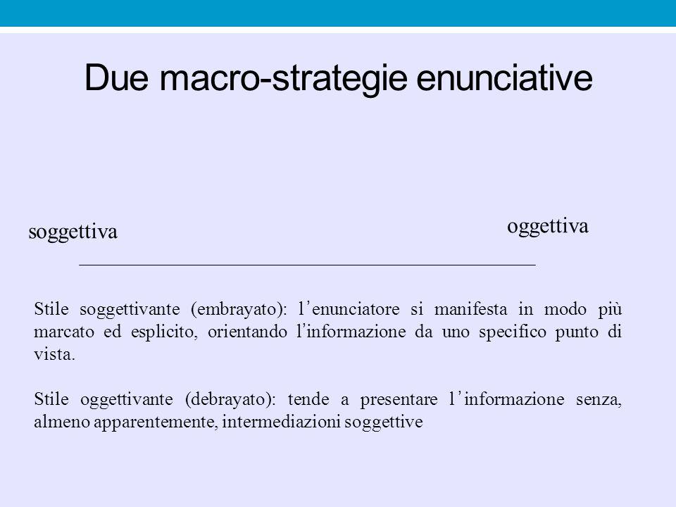 Due macro-strategie enunciative soggettiva oggettiva Stile soggettivante (embrayato): l ' enunciatore si manifesta in modo più marcato ed esplicito, o