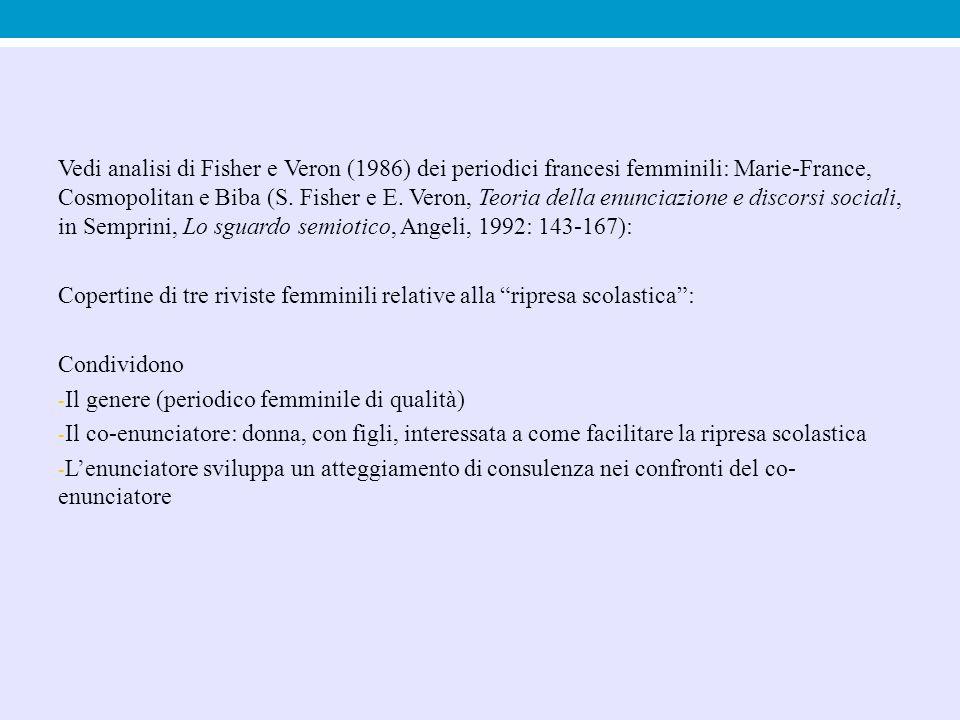 Vedi analisi di Fisher e Veron (1986) dei periodici francesi femminili: Marie-France, Cosmopolitan e Biba (S. Fisher e E. Veron, Teoria della enunciaz