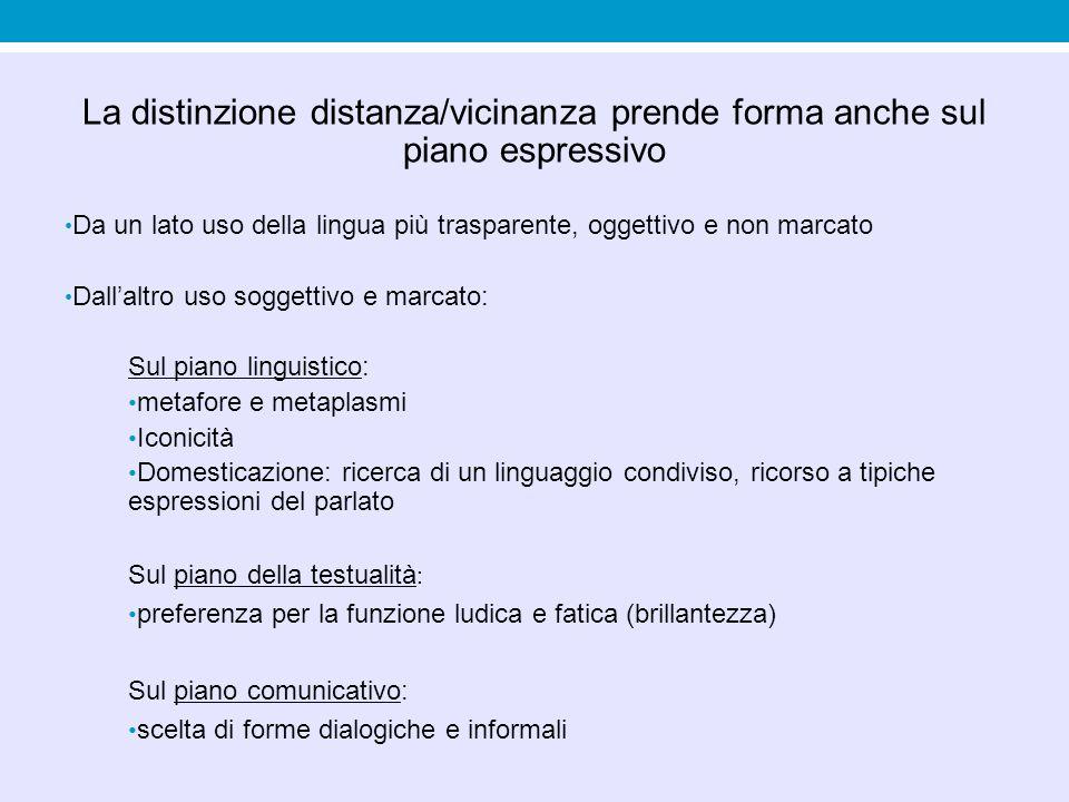 La distinzione distanza/vicinanza prende forma anche sul piano espressivo Da un lato uso della lingua più trasparente, oggettivo e non marcato Dall'al